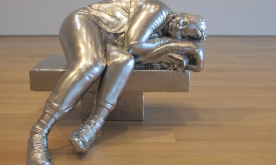 A sculpture called Sleeping Woman, by Charles Ray, exhibited at the Art Institute of Chicago (2015)