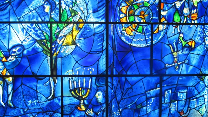 A window sculpture called America Windows by Marc Chagall