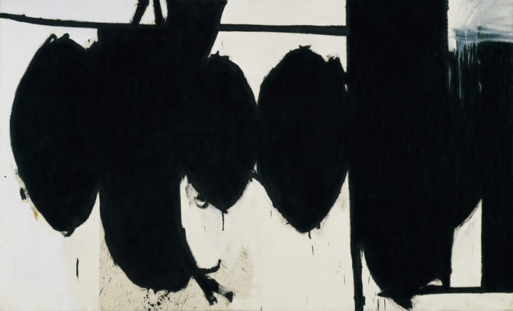 A painting called Elegy to the Spanish Republic No. 70 by Robert Motherwell