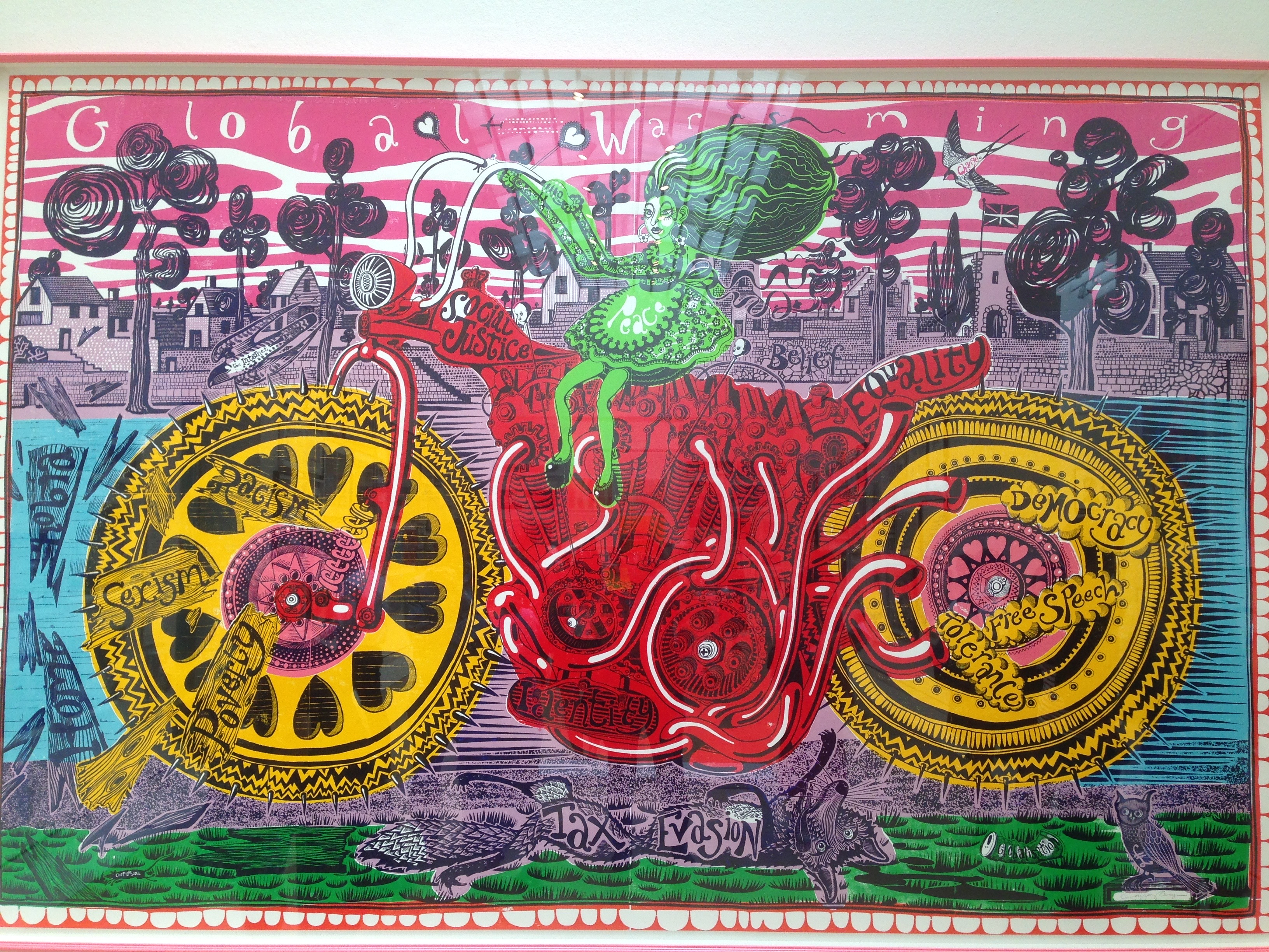 A woodcut called Selfie with Political Causes by Grayson Perry