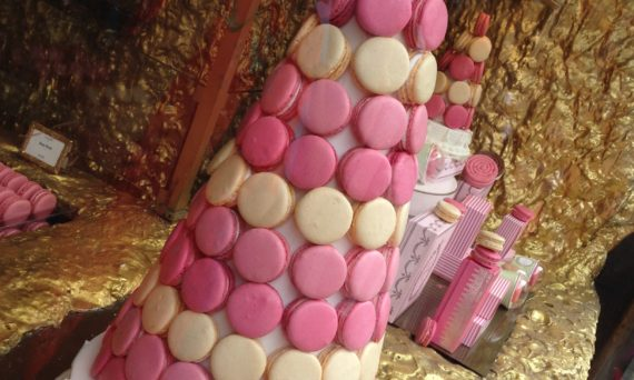 Pink macaroon tower in Burlington Arcade, London